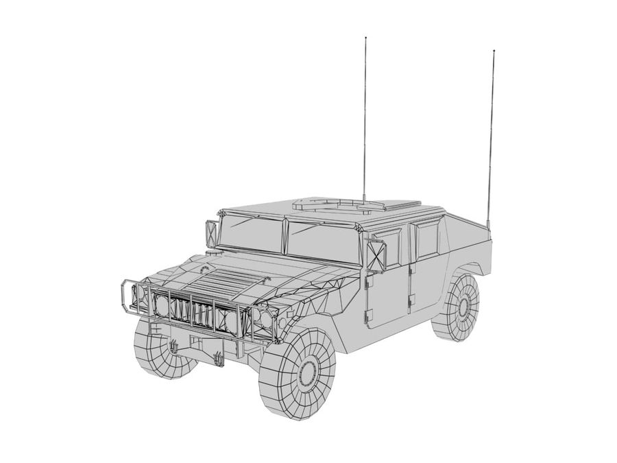 Lowpoly Humvee royalty-free 3d model - Preview no. 3