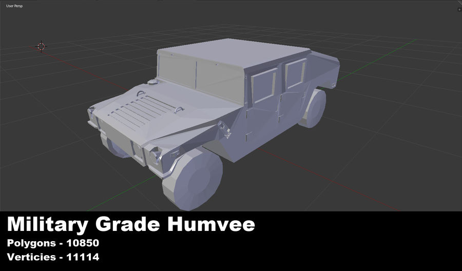 Humvee (Untextured) royalty-free 3d model - Preview no. 1
