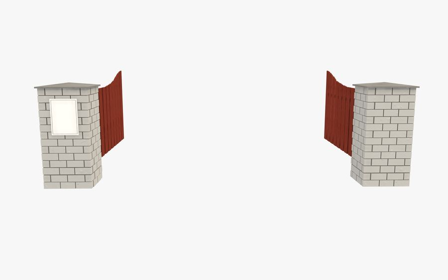Portão da cerca royalty-free 3d model - Preview no. 5