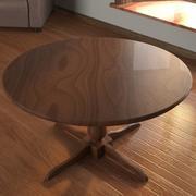 Table circulaire en bois 3d model