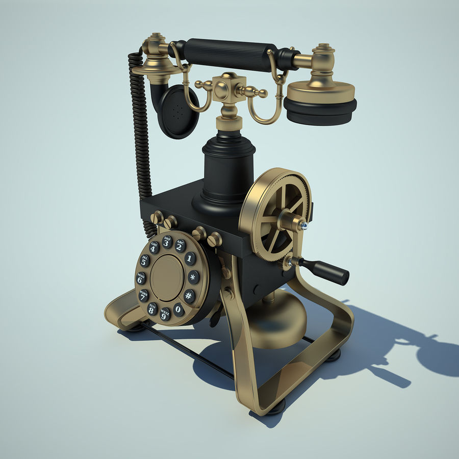 Retro Phone 01 royalty-free 3d model - Preview no. 2