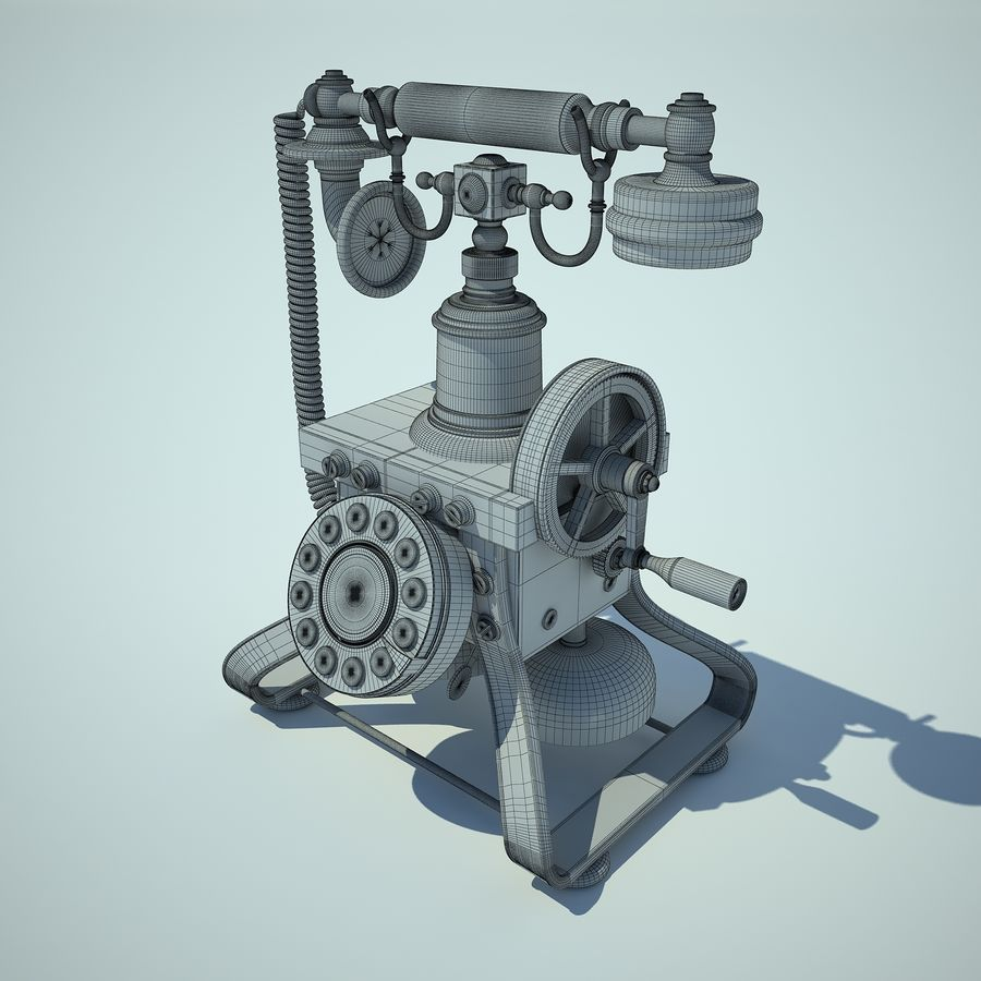 Retro Phone 01 royalty-free 3d model - Preview no. 3