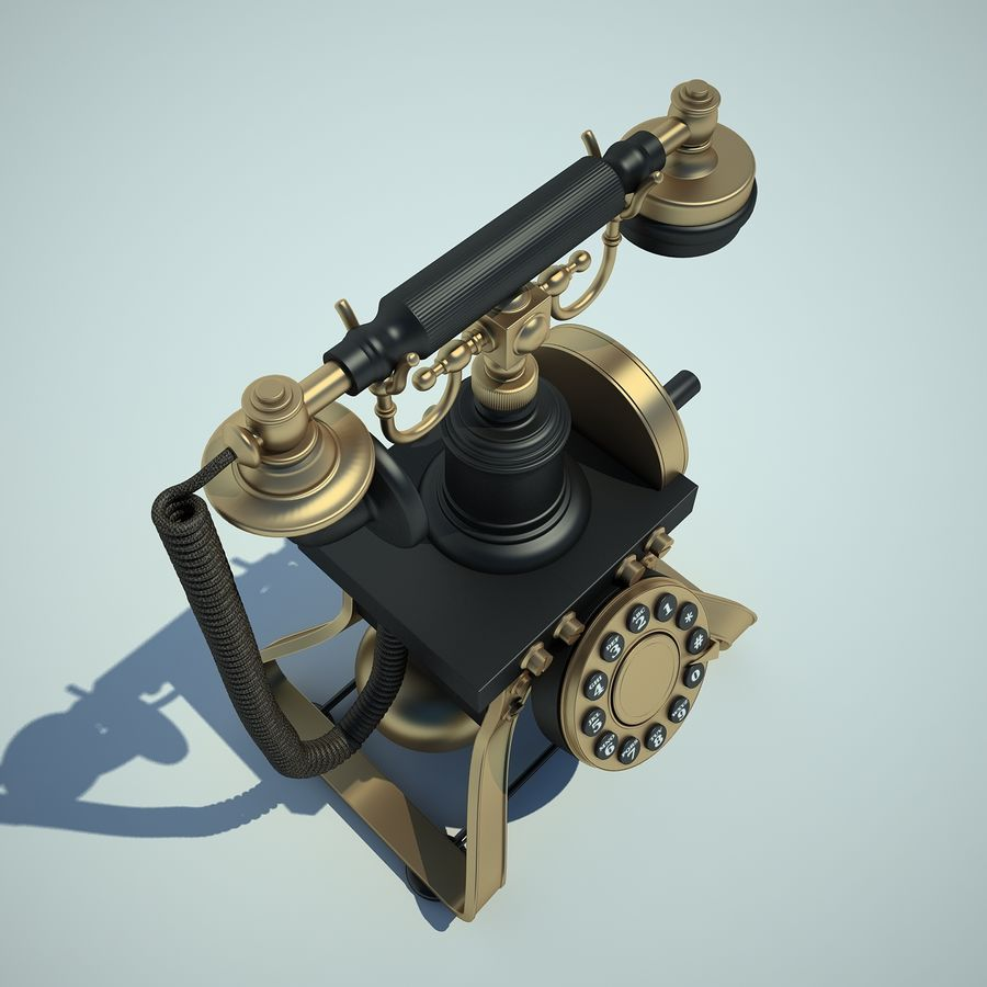 Retro Phone 01 royalty-free 3d model - Preview no. 8