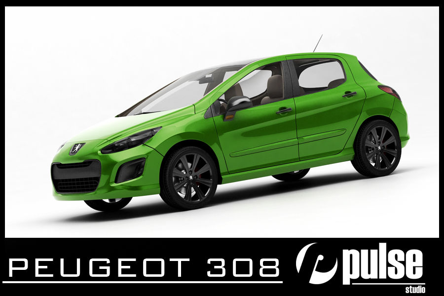 Peugeot 308 royalty-free 3d model - Preview no. 1