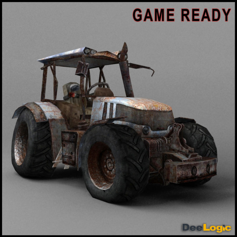 Rusty tractor royalty-free 3d model - Preview no. 1