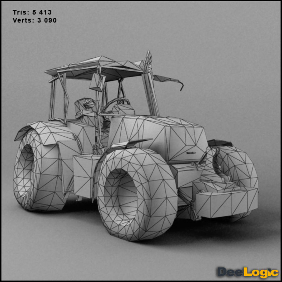 Rusty tractor royalty-free 3d model - Preview no. 2