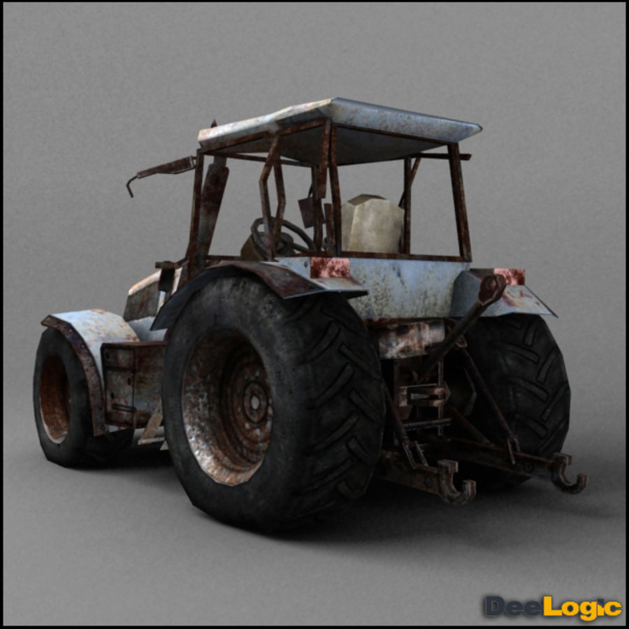 Rusty tractor royalty-free 3d model - Preview no. 3