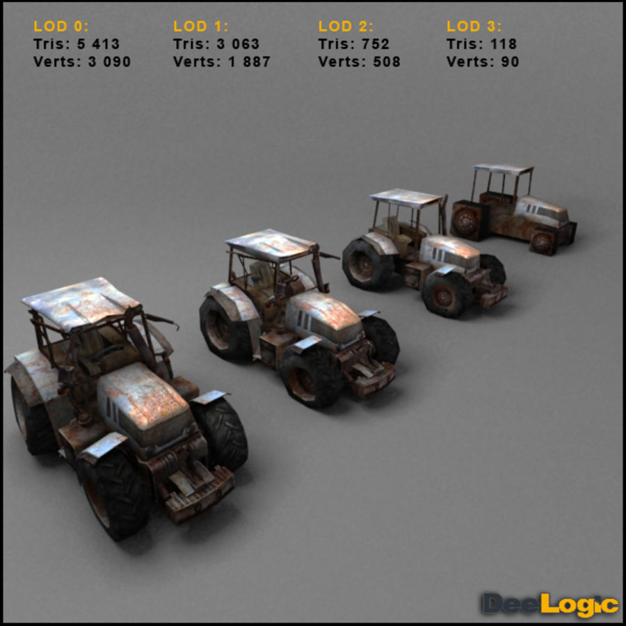 Rusty tractor royalty-free 3d model - Preview no. 4