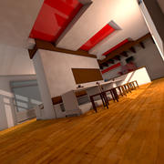 Interno del ristorante fast food 3d model