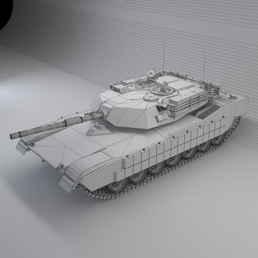 Tank Abrams Low-Poly royalty-free 3d model - Preview no. 11