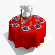 Round Dining Table Set 3d model