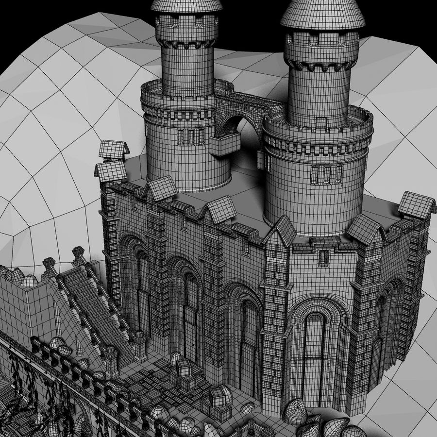 Fantasy Castle royalty-free 3d model - Preview no. 10