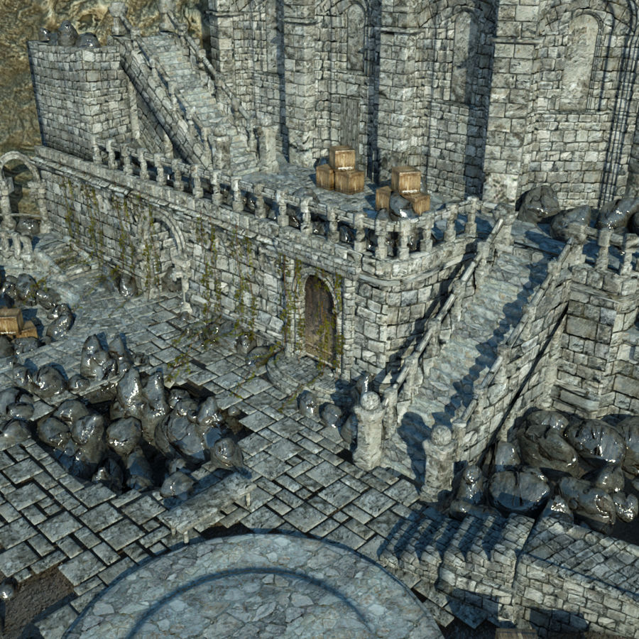 Fantasy Castle royalty-free 3d model - Preview no. 6