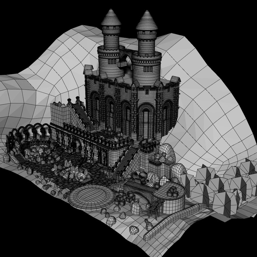 Fantasy Castle royalty-free 3d model - Preview no. 8