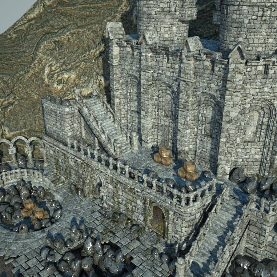 Fantasy Castle royalty-free 3d model - Preview no. 7