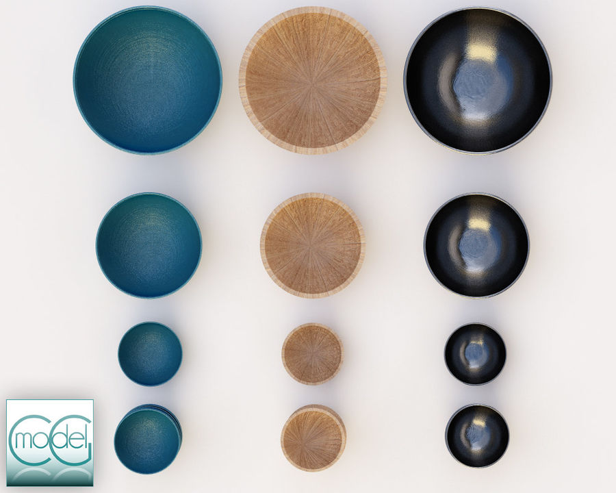 serving bowls royalty-free 3d model - Preview no. 4