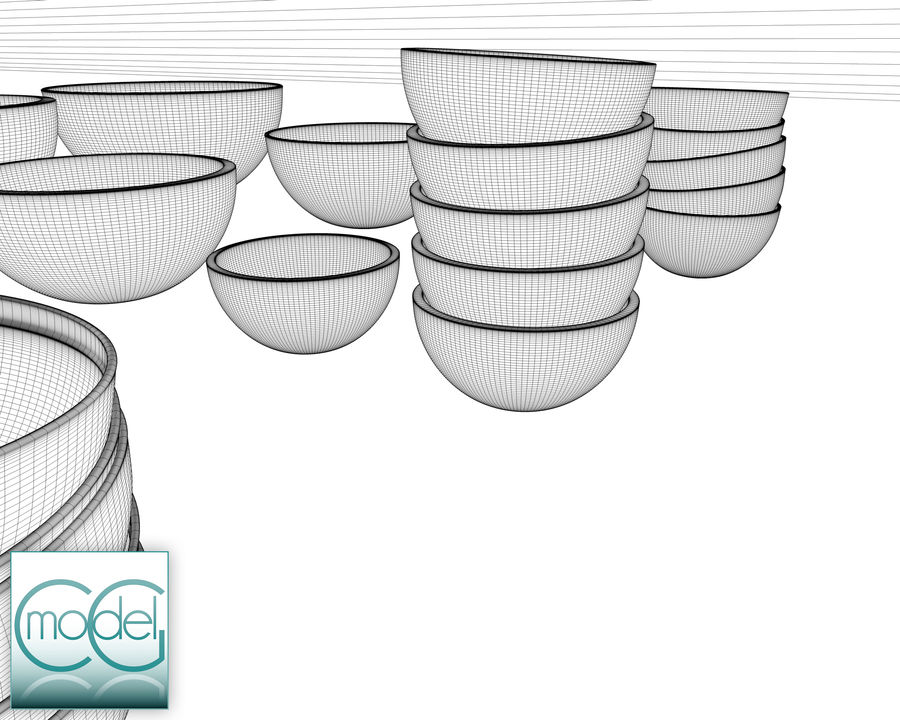 serving bowls royalty-free 3d model - Preview no. 10