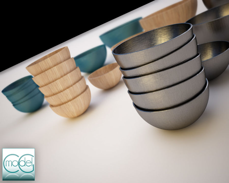 serving bowls royalty-free 3d model - Preview no. 5