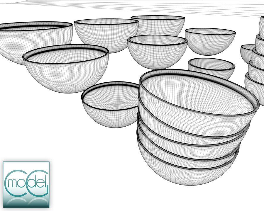 serving bowls royalty-free 3d model - Preview no. 14