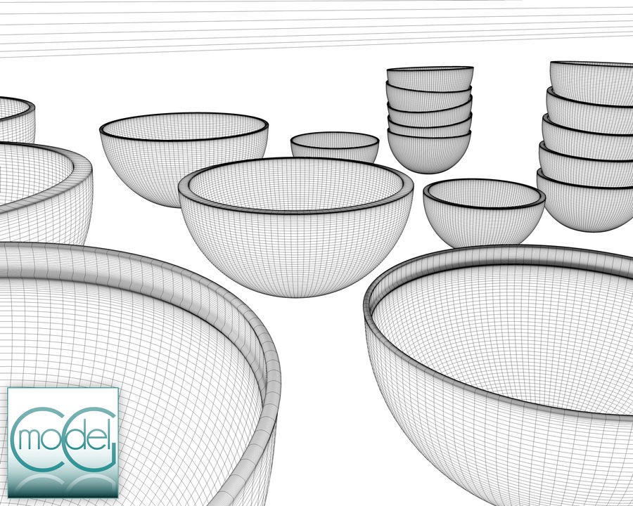 serving bowls royalty-free 3d model - Preview no. 13