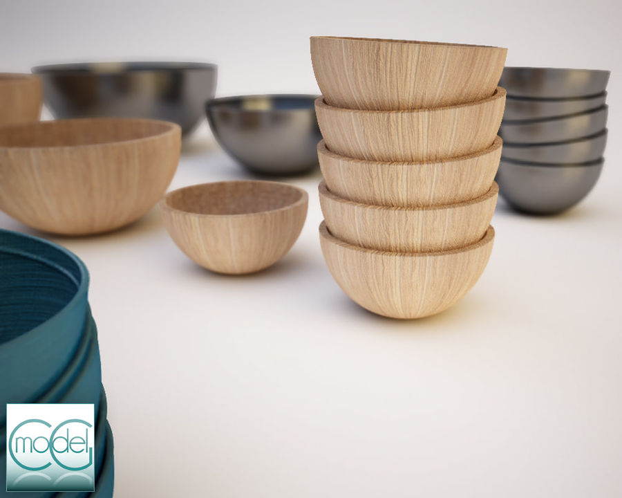 serving bowls royalty-free 3d model - Preview no. 3