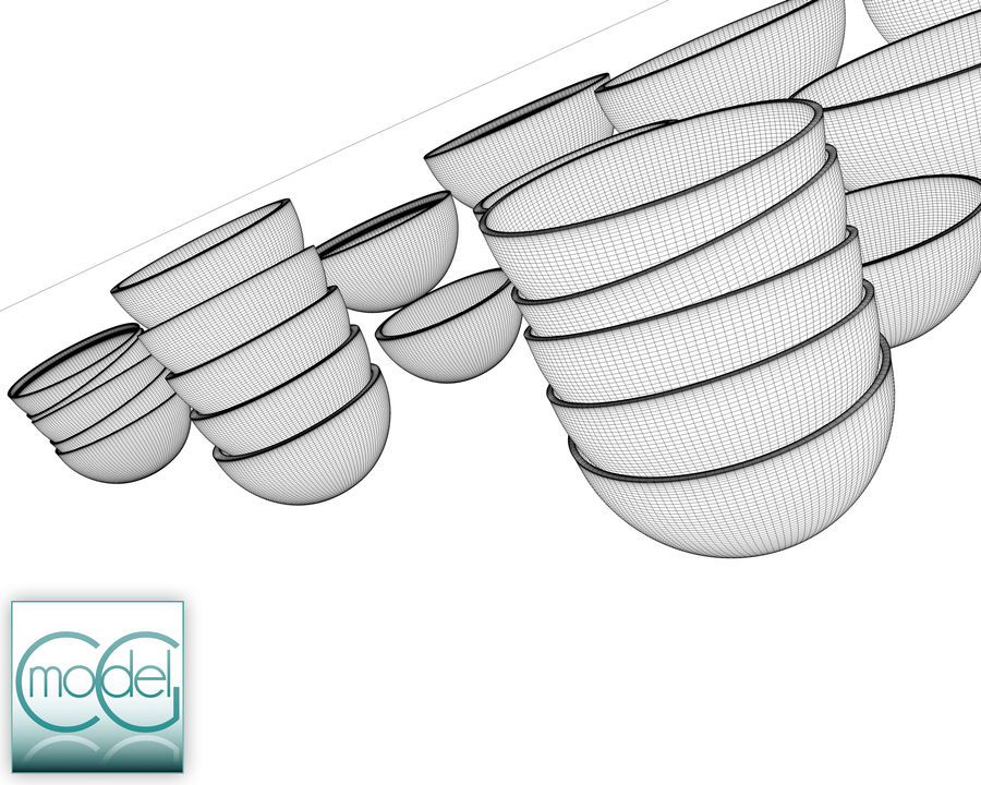 serving bowls royalty-free 3d model - Preview no. 12