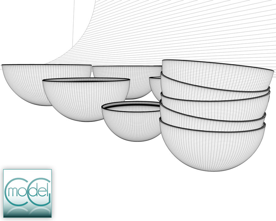 serving bowls royalty-free 3d model - Preview no. 9