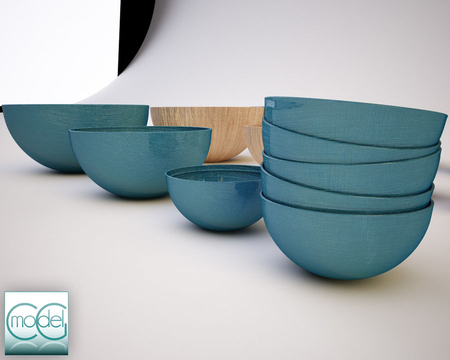 serving bowls royalty-free 3d model - Preview no. 2