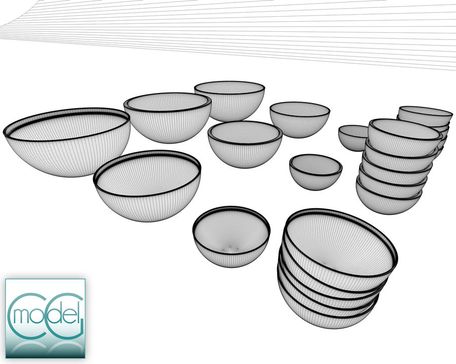 serving bowls royalty-free 3d model - Preview no. 8