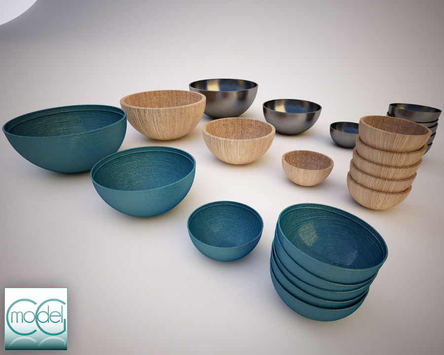 serving bowls royalty-free 3d model - Preview no. 1