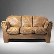 普通旧皮沙发 3d model