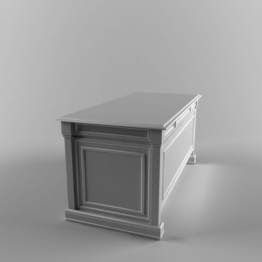 classic table desk royalty-free 3d model - Preview no. 5