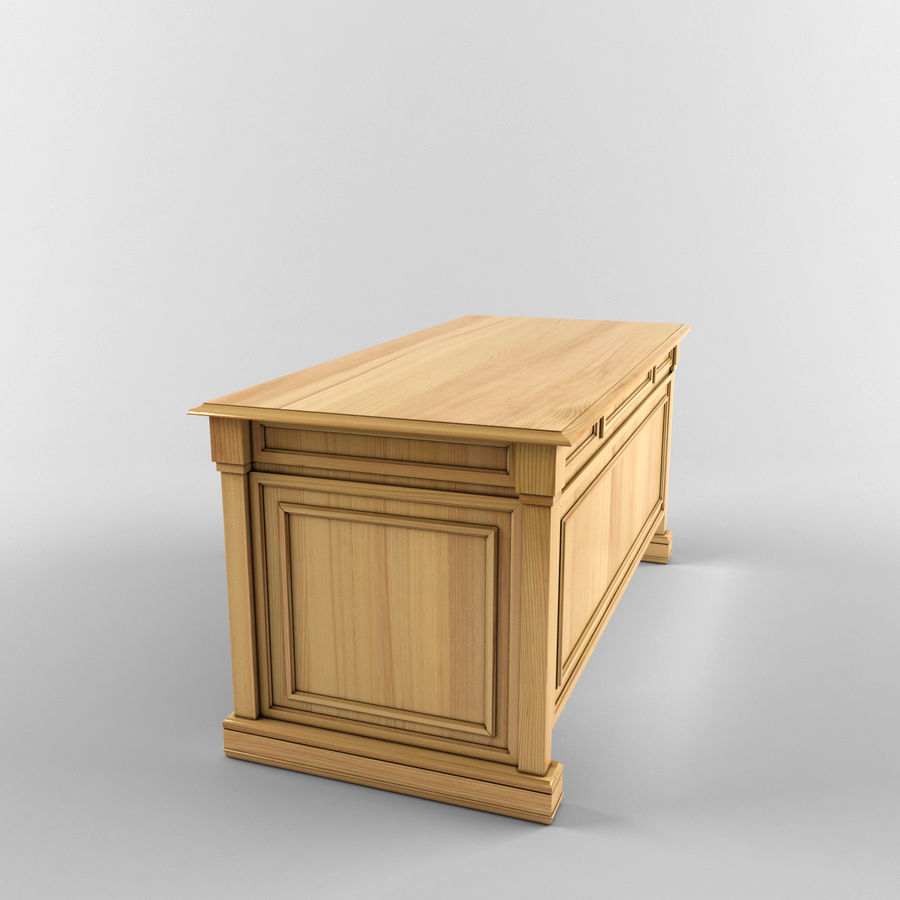 classic table desk royalty-free 3d model - Preview no. 4