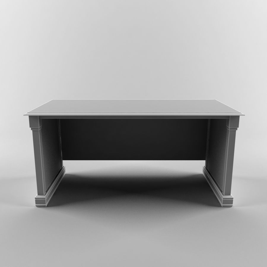 classic table desk royalty-free 3d model - Preview no. 6