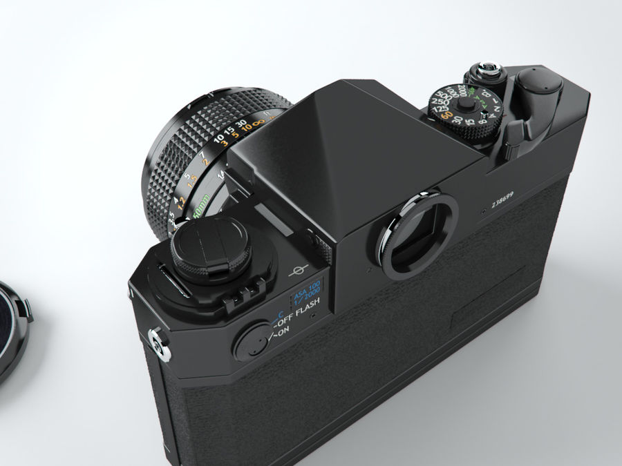 Canon F1 reflex camera royalty-free 3d model - Preview no. 6