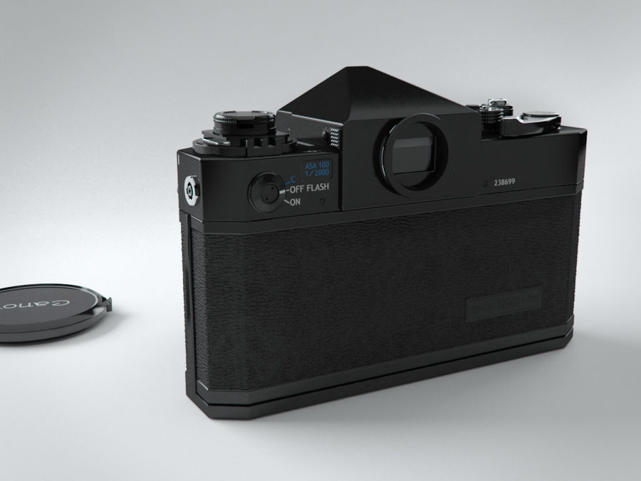 Canon F1 reflex camera royalty-free 3d model - Preview no. 5