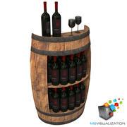 Half Barrel Wine Rack 3d model