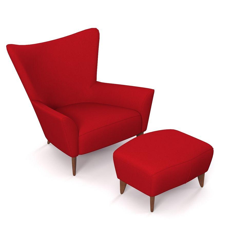 Matador fauteuil Helion Charcoal Wing stoel met voetenbank royalty-free 3d model - Preview no. 3
