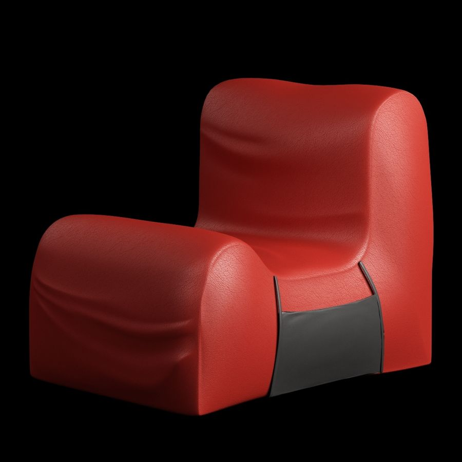 Chair Armless Furnished 008 royalty-free 3d model - Preview no. 2