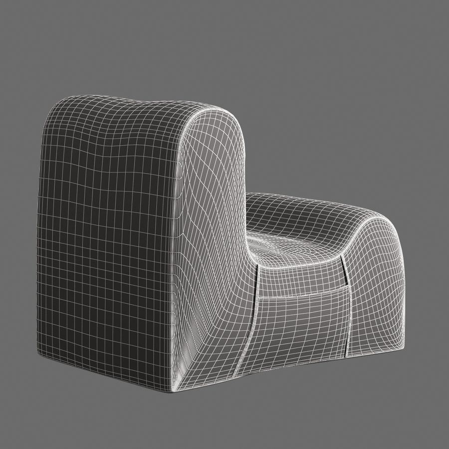 Chair Armless Furnished 008 royalty-free 3d model - Preview no. 8