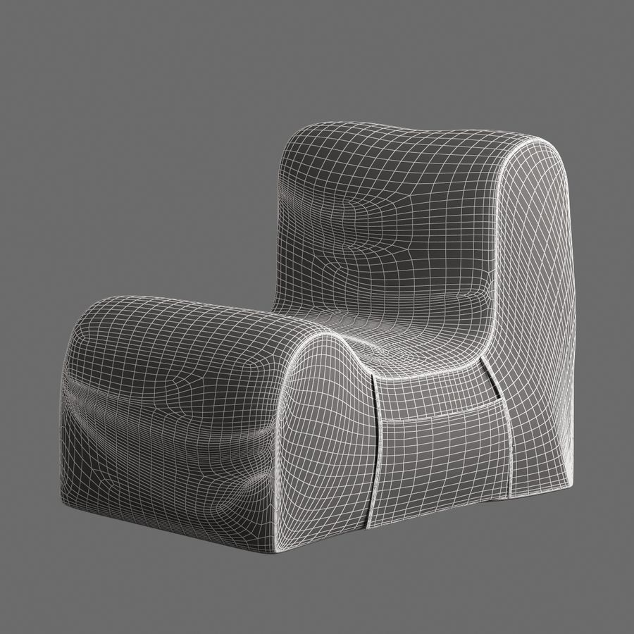 Chair Armless Furnished 008 royalty-free 3d model - Preview no. 7