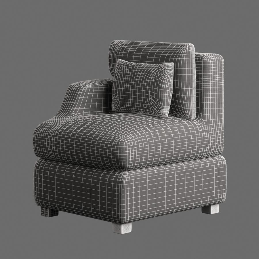 Chair Furnished 008 royalty-free 3d model - Preview no. 7