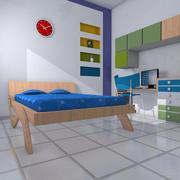Chambre à coucher verte 3d model
