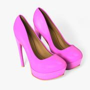 Roze lederen mode hakken 3d model