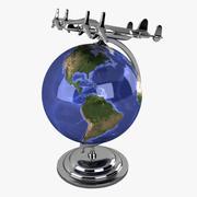 飛行機とビンテージグローブ 3d model