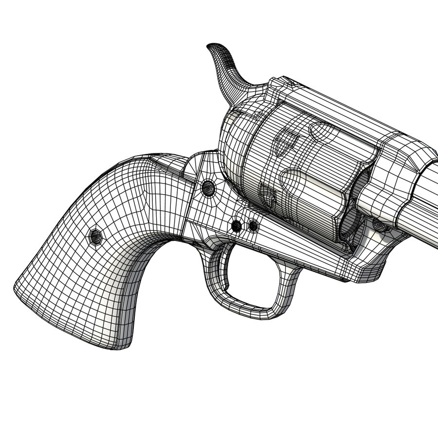 Colt Revolver royalty-free 3d model - Preview no. 25
