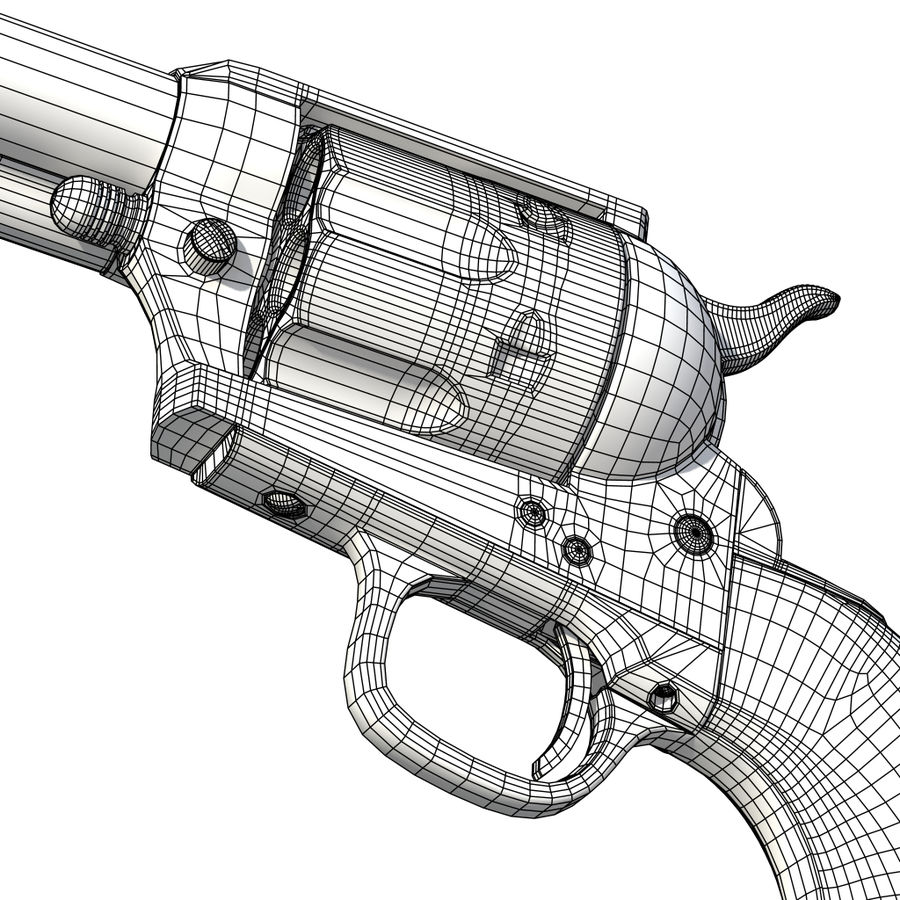 Colt Revolver royalty-free 3d model - Preview no. 23