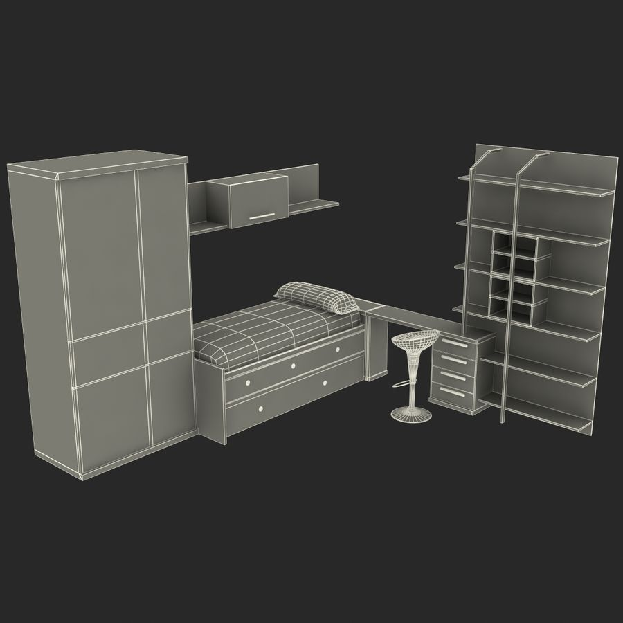 Kids Bedroom Furniture royalty-free 3d model - Preview no. 16