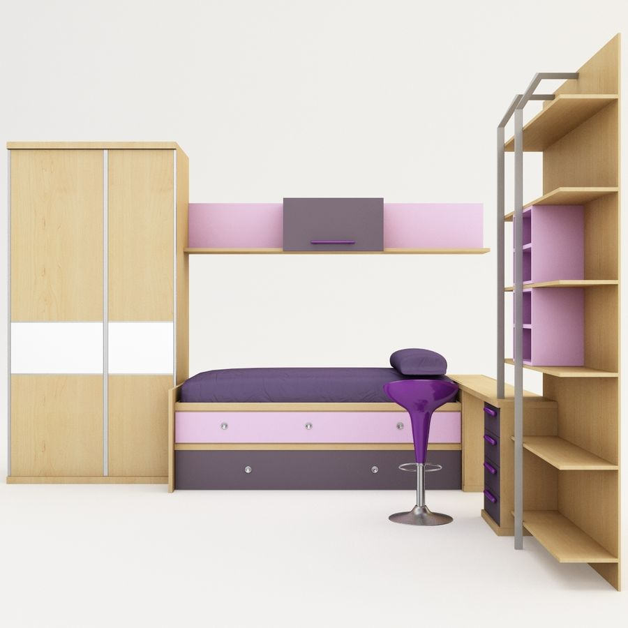 Kids Bedroom Furniture royalty-free 3d model - Preview no. 5