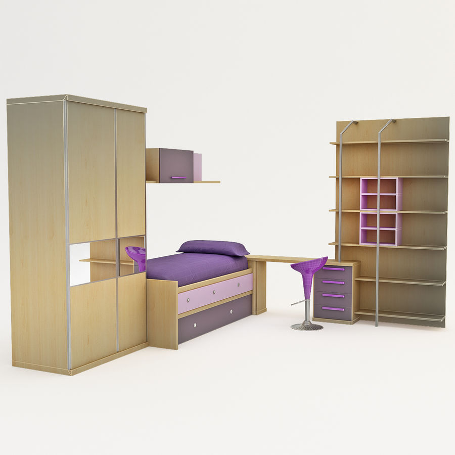 Kids Bedroom Furniture royalty-free 3d model - Preview no. 3